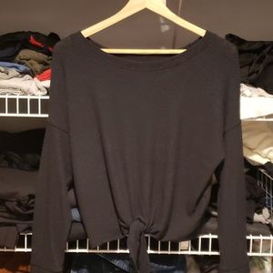 Abercrombie cropped tie front thermal top